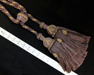"Tieback, Large Double 8 1/2"" Tassels in Deep Lavender & Taupe"