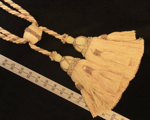 "Tieback, Double 8 1/2"" Tassels in Soft Pink, Cream & Sage"