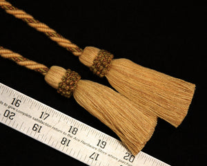 "Chair Tie, Two 4"" Tassels with 28"" Cord Tan/Olive"