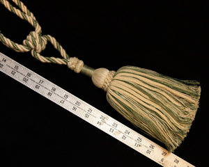 "Tieback, 9"" Single Tassel Ivory, Moss Green"