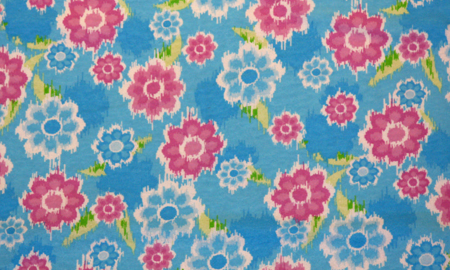 Pink & Blue Floral Double Napped Flannel
