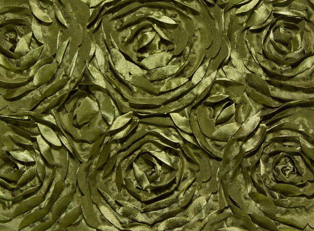 Olive Large Scalloped Rosette Taffeta