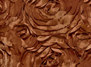 Copper Large Scalloped Rosette Taffeta Fabric