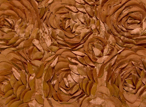 Burnt Orange Large Scalloped Rosette Taffeta Fabric