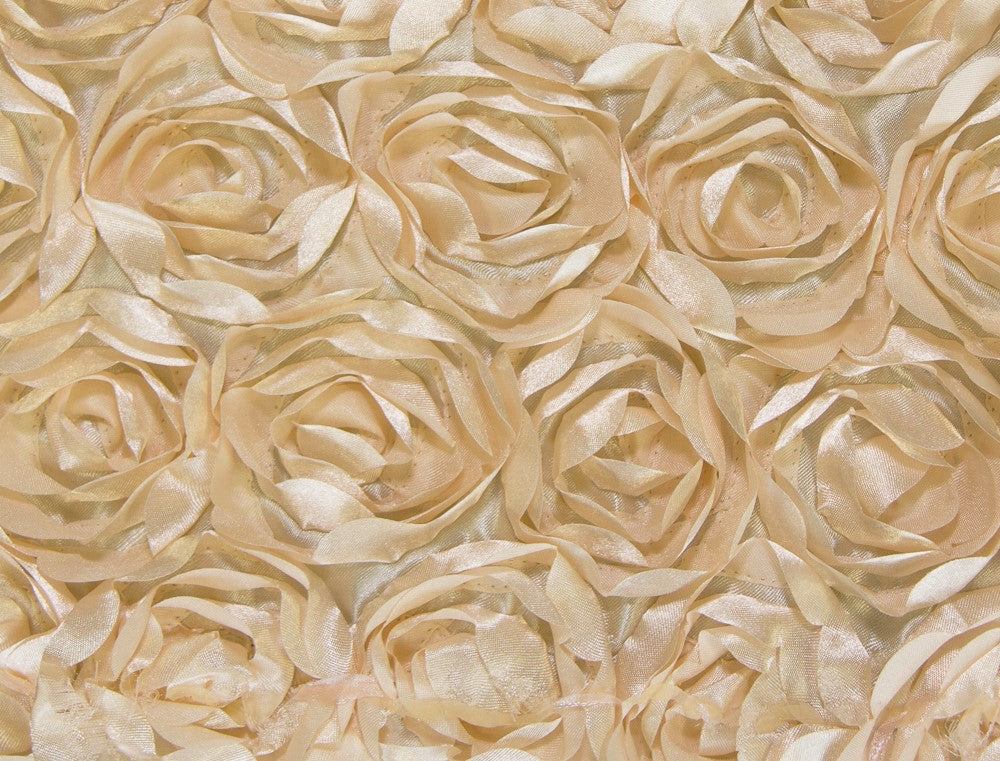 Light Gold Small Scalloped Rosette Taffeta Fabric