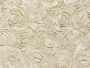 Ivory Small Scalloped Rosette Taffeta Fabric