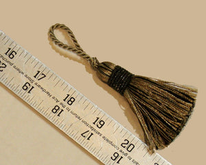 "2 1/2"" Tassel in Gold, Taupe & Black"