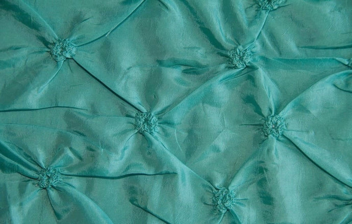 Teal Button Tuck Taffeta Fabric