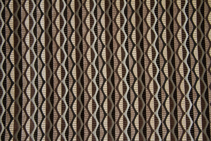 Discount Fabric CHENILLE Black & Brown Chain Link Upholstery & Drapery