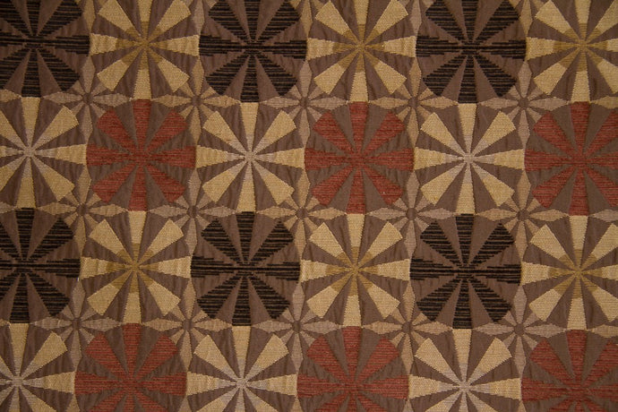 Discount Fabric CHENILLE Chestnut Pinwheel Upholstery & Drapery