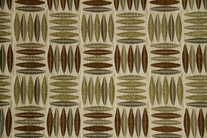Discount Fabric CHENILLE Sage & Brown Geometric Upholstery & Drapery