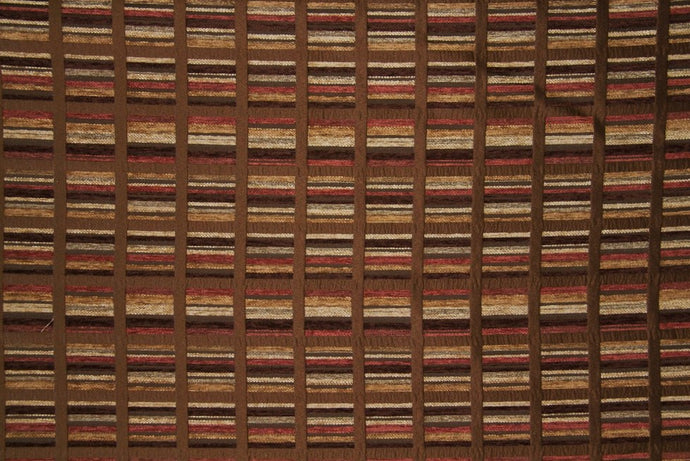 Discount Fabric CHENILLE Chocolate & Brick Red Geometric Upholstery & Drapery