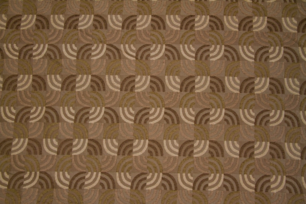 Discount Fabric JACQUARD Olive, Taupe, Brown & Cream Interlocking Waves Upholstery & Drapery