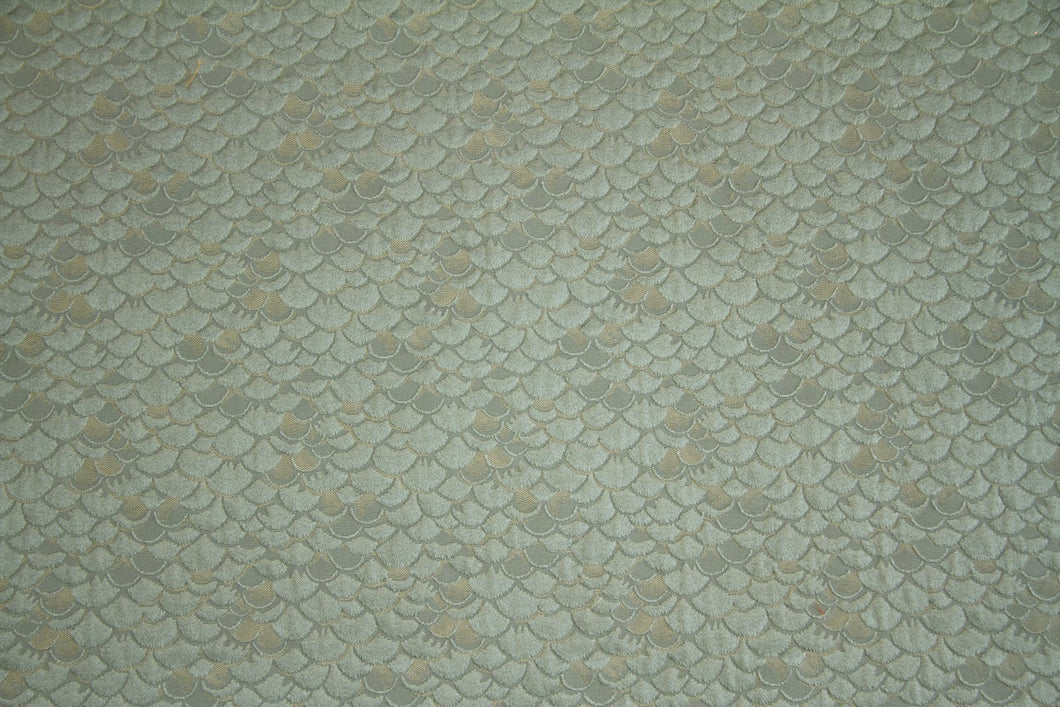 Discount Fabric JACQUARD Dusty Aqua Scale Upholstery & Drapery