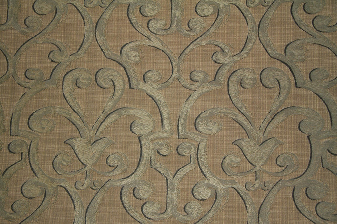 Discount Fabric JACQUARD Blue Gray & Taupe Scroll Upholstery & Drapery