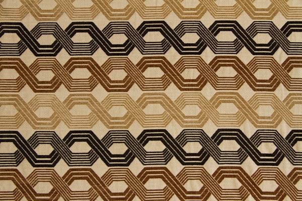 Discount Fabric JACQUARD Black, Brown & Tan Chain Link Upholstery & Drapery