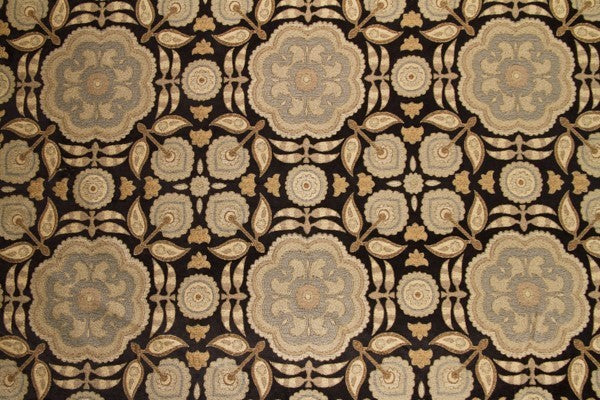 Discount Fabric TAPESTRY Black & Taupe Floral Upholstery