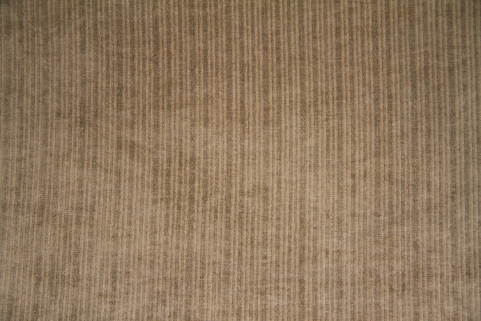 Discount Fabric VELVET Taupe Stripe Upholstery