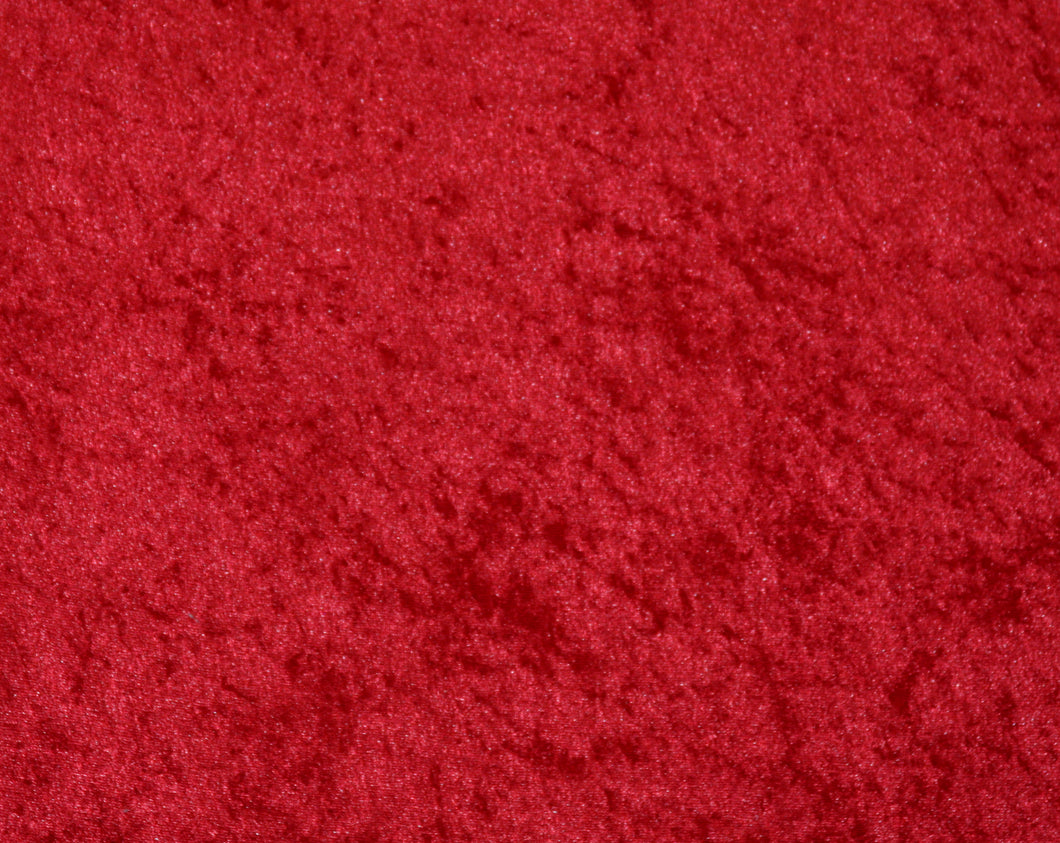 Red Crushed Velour - WHOLESALE FABRIC - 15 Yard Bolt