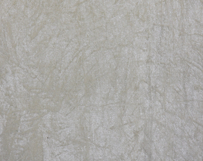 Ivory Crushed Velour - WHOLESALE FABRIC - 15 Yard Bolt