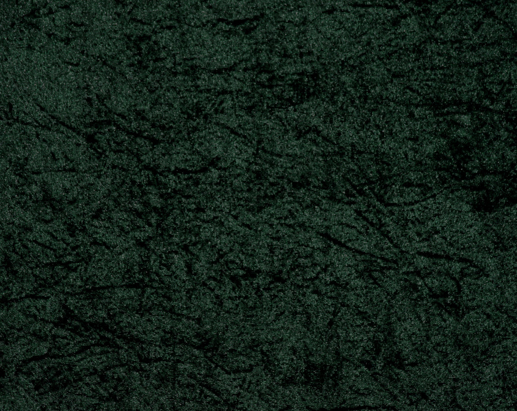 Hunter Green Crushed Velour - WHOLESALE FABRIC - 15 Yard Bolt