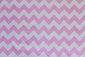 "90"" Pink & White Chevron EXTRA WIDE Percale Sheeting Fabric"