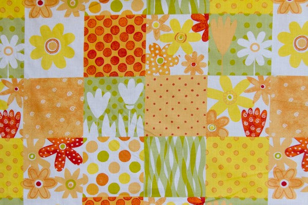 Orange Yellow Daisy Cheater's Quilt Fabric - By The Yard