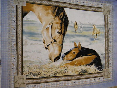Horses WALL HANGING 100% Cotton Fabric