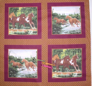 Horses-Burgundy Cheater's Quilt Fabric