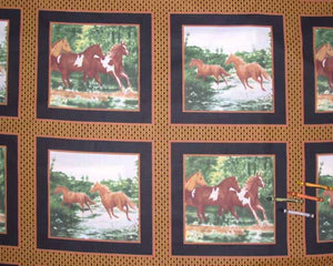 Horses-Gold and Black Cheater's Quilt Fabric