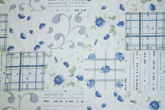 Blue Floral Scroll Cheater's Quilt Fabric - By The Yard