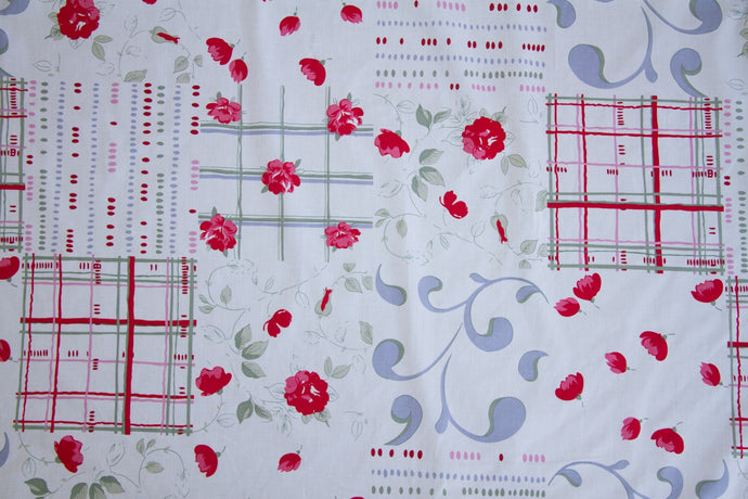 Rose Floral Scroll Cheater's Quilt Fabric - By The Yard