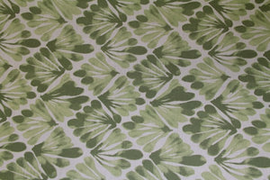 "101"" Sage Feather Geometric EXTRA WIDE Percale Sheeting Fabric"