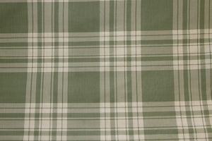 "101"" Sage & Creme Plaid EXTRA WIDE Percale Sheeting Fabric"
