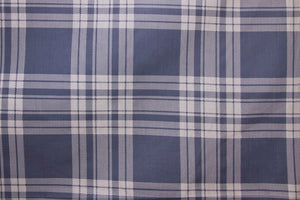 "101"" Dusty Blue & White Plaid EXTRA WIDE Percale Sheeting Fabric"