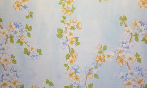 "102"" Light Blue Floral EXTRA WIDE Percale Sheeting Fabric"