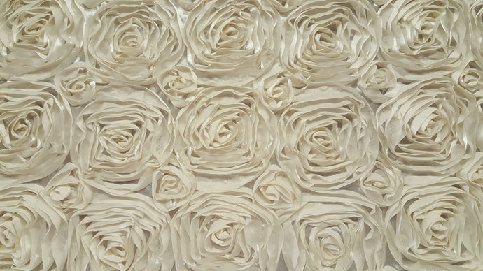 Cream Rosette Taffeta Fabric