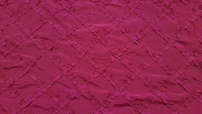 Fuchsia Crisscross Ribbon Taffeta Fabric