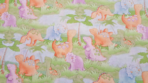 Dinosaur Cute A Saurus Scenic 100% Cotton Fabric