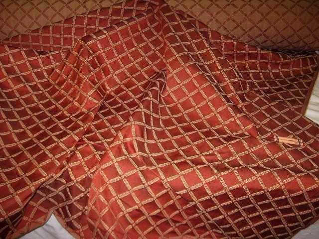 Discount Fabric JACQUARD Rust Lattice Drapery & Upholstery