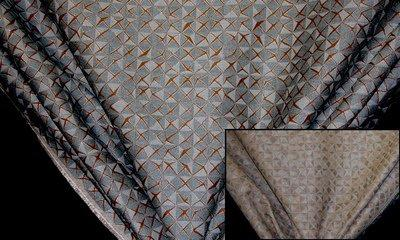 Discount Fabric JACQUARD Teal & Chocolate Drapery & Upholstery