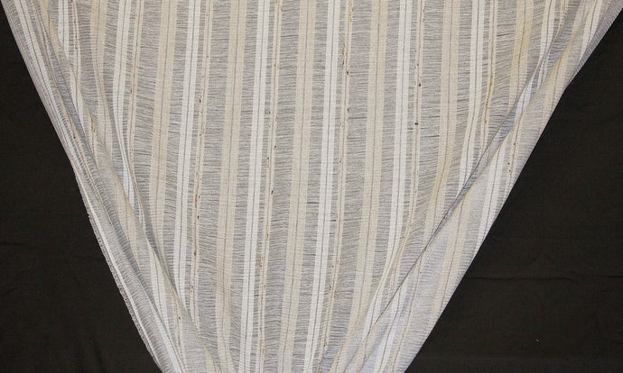 Discount Fabric OPEN WEAVE DRAPERY Gray, Silver & Taupe Stripe