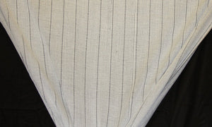 Discount Fabric OPEN WEAVE DRAPERY Silver & Ivory Wide Striped