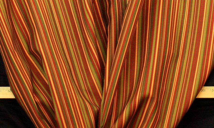 Discount Fabric DRAPERY Red & Olive Mini Stripe