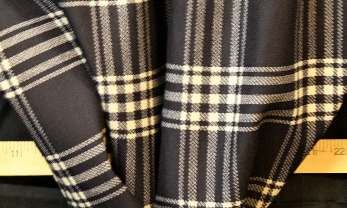 Discount Fabric DRAPERY Black Plaid