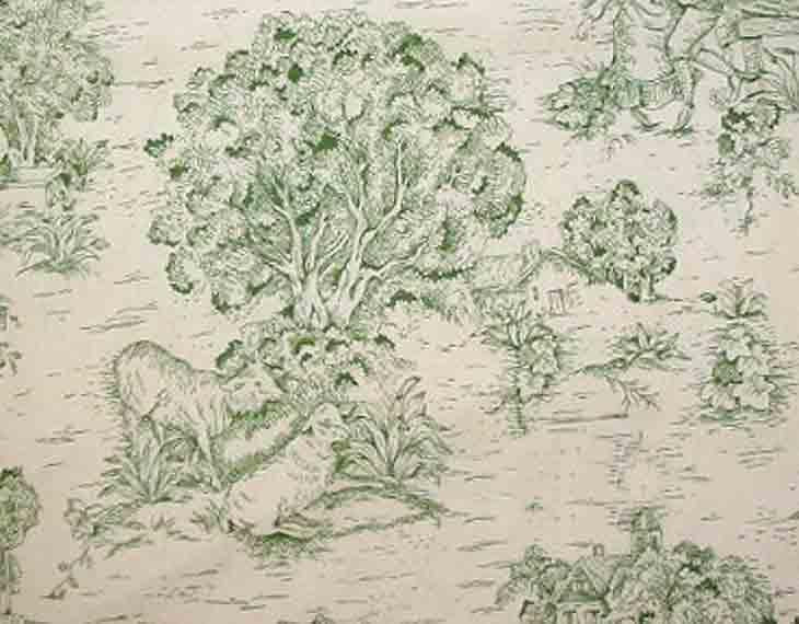 Discount Fabric TOILE DRAPERY Green on Ivory Country Print