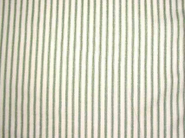 Discount Fabric TICKING DRAPERY Green & Ivory Stripe