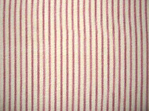 Discount Fabric TICKING DRAPERY Red & Natural Stripe