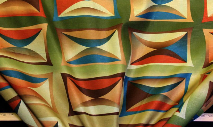 Discount Fabric DRAPERY OR BEDSPREAD Olive Color Burst Abstract