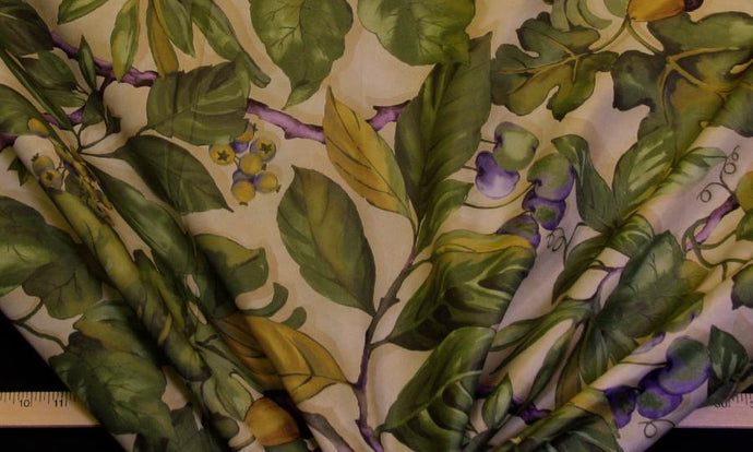 Discount Fabric DRAPERY OR BEDSPREAD Olive Fruit Vine
